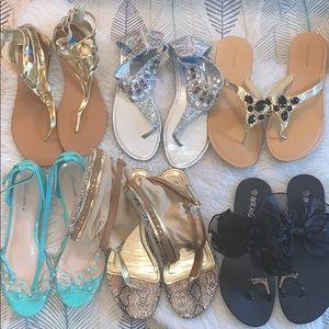 Sandal Sz 10 Lot 6 pc. Bow, Peep Toe, Gold, Bling
